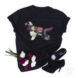 Koszulka z psem cocker spaniel cały w kwiatach