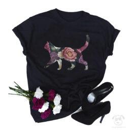 Koszulka z kotem całym w kwiatach