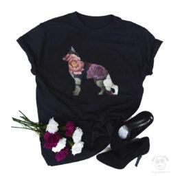 Koszulka z psem owczarek niemiecki cały w kwiatach