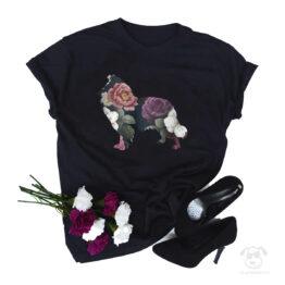 Koszulka z psem owczarek szkocki długowłosy collie cały w kwiatach