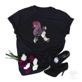 Koszulka z psem pudel cały w kwiatach