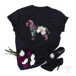 Koszulka z psem romański pies dowodny cały w kwiatach