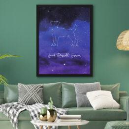 Plakat z psem - jack russel terrier z gwiazd na nocnym niebie.