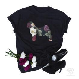 koszulki z psem rasowym w kwiatach